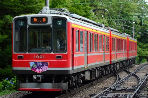 【箱根登山】あじさい電車ヘッドマーク・サボ掲出