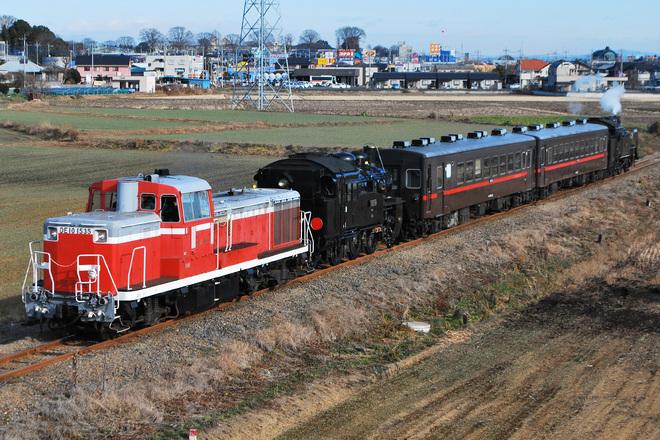 【真岡】C12-66OM入場回送に伴うSLもおか号客車減車運行