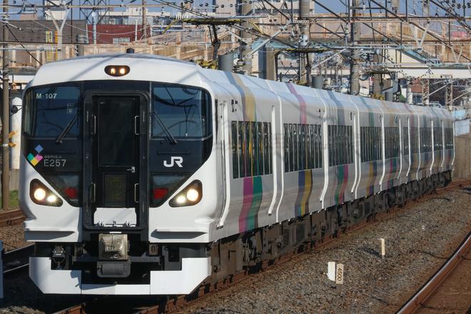 【JR東】E257系モトM-107編成 団体臨時列車運転