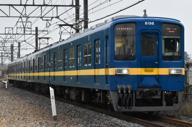 【東武】8000系8198Fがブルーバード塗装がヘッドマーク無しに